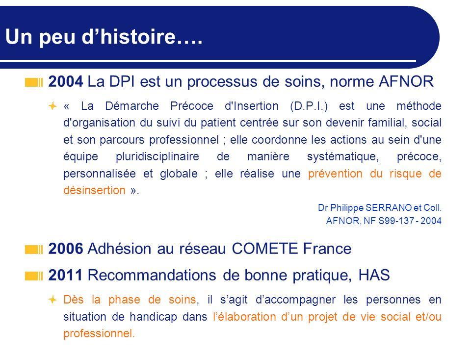 Un peu dhistoire…. 2004 La DPI est un processus de soins, norme AFNOR « La Démarche Précoce d'Insertion (D.P.I.) est une méthode d'organisation du sui