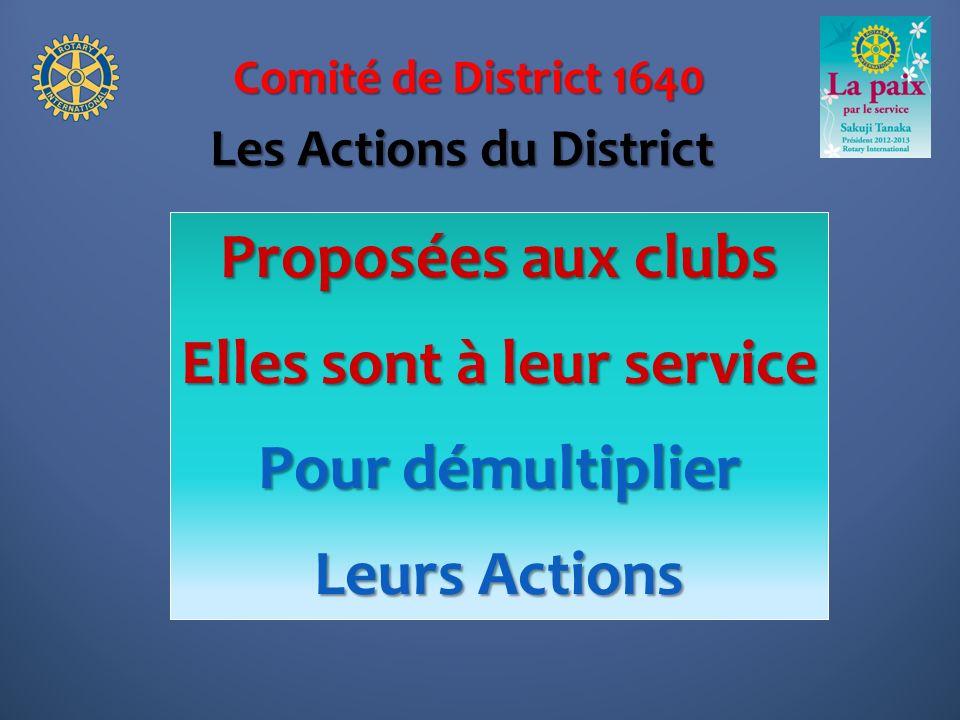 Comité de District 1640 Proposées aux clubs Elles sont à leur service Pour démultiplier Leurs Actions Les Actions du District