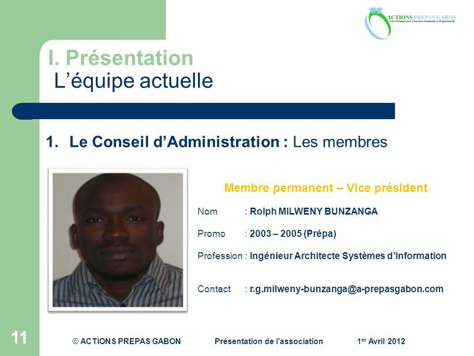I. Présentation Léquipe actuelle 11 1.Le Conseil dAdministration : Les membres Membre permanent – Vice président Nom: Rolph MILWENY BUNZANGA Promo : 2