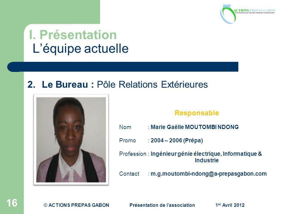 I. Présentation Léquipe actuelle 16 Responsable Nom: Marie Gaëlle MOUTOMBI NDONG Promo : 2004 – 2006 (Prépa) Profession : Ingénieur génie électrique,