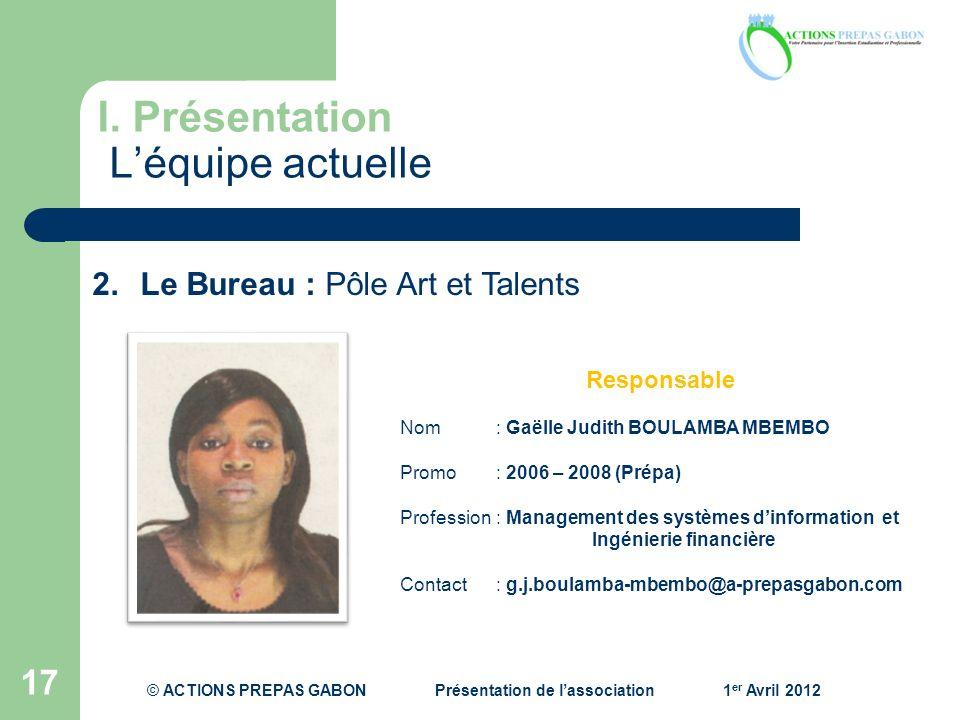 I. Présentation Léquipe actuelle 17 Responsable Nom: Gaëlle Judith BOULAMBA MBEMBO Promo : 2006 – 2008 (Prépa) Profession : Management des systèmes di