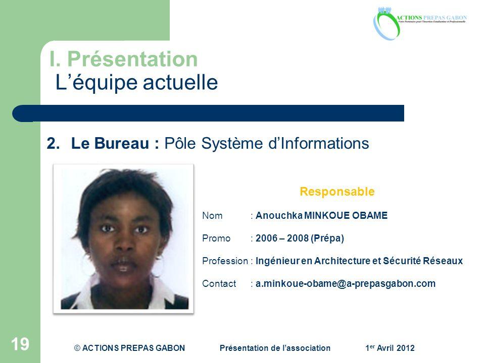 I. Présentation Léquipe actuelle 19 Responsable Nom: Anouchka MINKOUE OBAME Promo : 2006 – 2008 (Prépa) Profession : Ingénieur en Architecture et Sécu
