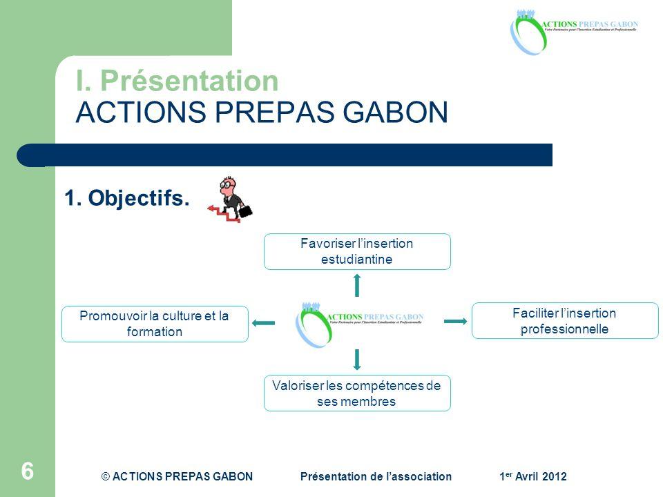 I. Présentation ACTIONS PREPAS GABON 6 1. Objectifs. Promouvoir la culture et la formation Faciliter linsertion professionnelle Favoriser linsertion e