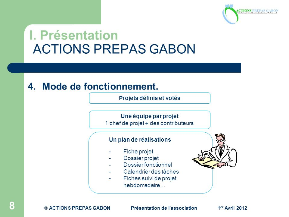 I. Présentation ACTIONS PREPAS GABON 8 Projets définis et votés Une équipe par projet 1 chef de projet + des contributeurs Un plan de réalisations -Fi
