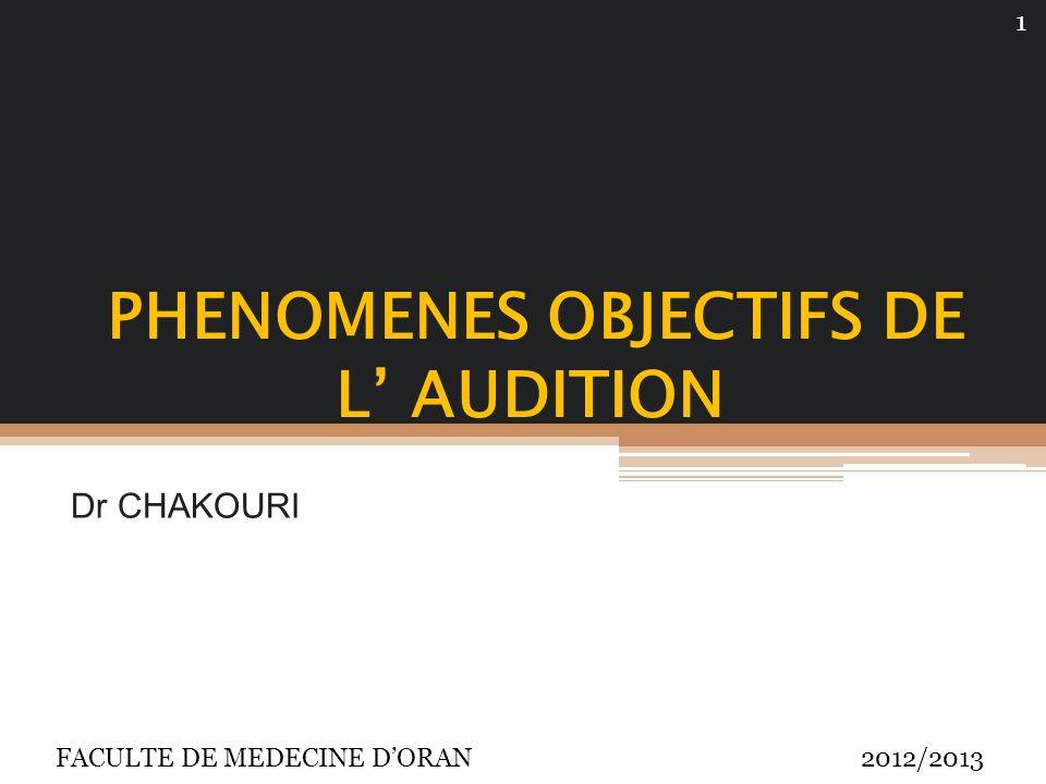 PHENOMENES OBJECTIFS DE L AUDITION Dr CHAKOURI FACULTE DE MEDECINE DORAN 2012/2013 1