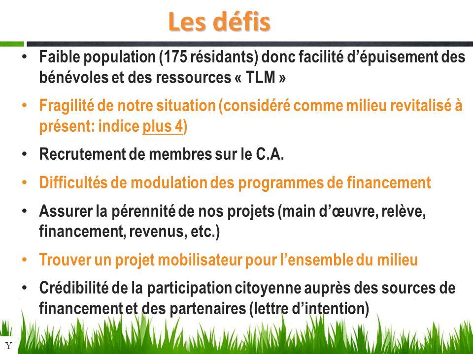 Les défis Faible population (175 résidants) donc facilité dépuisement des bénévoles et des ressources « TLM » Fragilité de notre situation (considéré comme milieu revitalisé à présent: indice plus 4) Recrutement de membres sur le C.A.