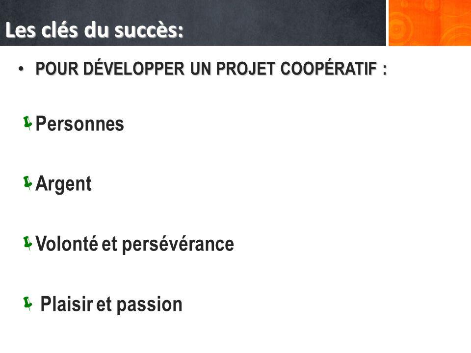 Les clés du succès: POUR DÉVELOPPER UN PROJET COOPÉRATIF : POUR DÉVELOPPER UN PROJET COOPÉRATIF : Personnes Argent Volonté et persévérance Plaisir et passion