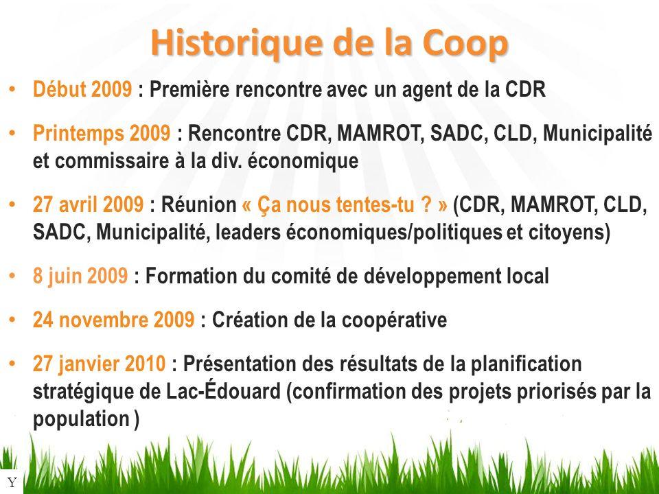 Historique de la Coop Début 2009 : Première rencontre avec un agent de la CDR Printemps 2009 : Rencontre CDR, MAMROT, SADC, CLD, Municipalité et commissaire à la div.