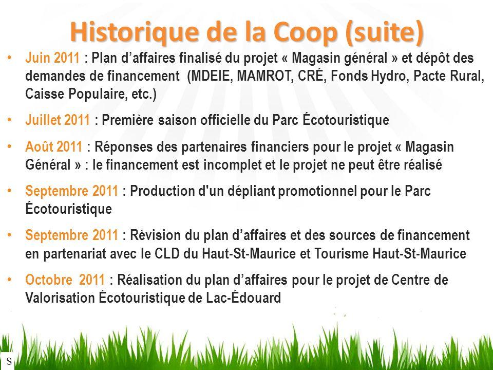 Historique de la Coop (suite) Juin 2011 : Plan daffaires finalisé du projet « Magasin général » et dépôt des demandes de financement (MDEIE, MAMROT, CRÉ, Fonds Hydro, Pacte Rural, Caisse Populaire, etc.) Juillet 2011 : Première saison officielle du Parc Écotouristique Août 2011 : Réponses des partenaires financiers pour le projet « Magasin Général » : le financement est incomplet et le projet ne peut être réalisé Septembre 2011 : Production d un dépliant promotionnel pour le Parc Écotouristique Septembre 2011 : Révision du plan daffaires et des sources de financement en partenariat avec le CLD du Haut-St-Maurice et Tourisme Haut-St-Maurice Octobre 2011 : Réalisation du plan daffaires pour le projet de Centre de Valorisation Écotouristique de Lac-Édouard S