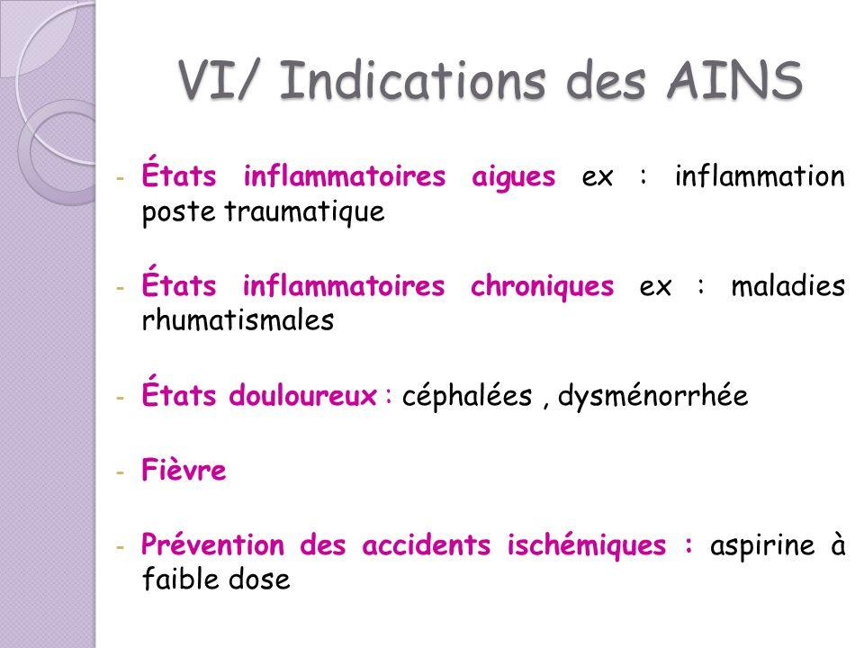 VI/ Indications des AINS - États inflammatoires aigues ex : inflammation poste traumatique - États inflammatoires chroniques ex : maladies rhumatismal