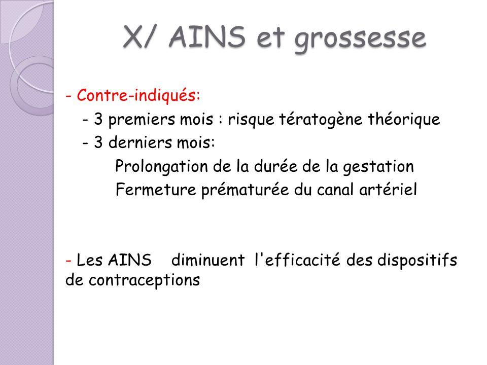 X/ AINS et grossesse - Contre-indiqués: - 3 premiers mois : risque tératogène théorique - 3 derniers mois: Prolongation de la durée de la gestation Fe