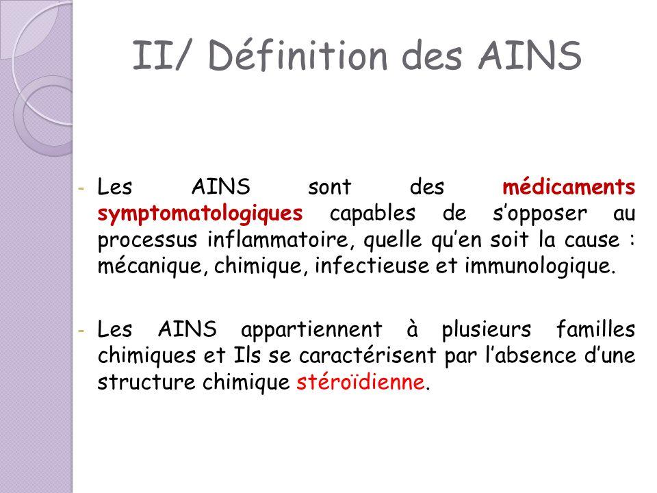 II/ Définition des AINS - Les AINS sont des médicaments symptomatologiques capables de sopposer au processus inflammatoire, quelle quen soit la cause