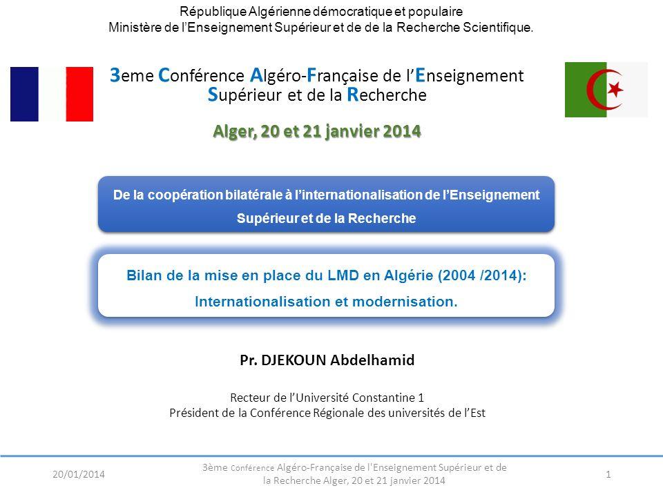 République Algérienne démocratique et populaire Ministère de lEnseignement Supérieur et de de la Recherche Scientifique. Pr. DJEKOUN Abdelhamid Recteu