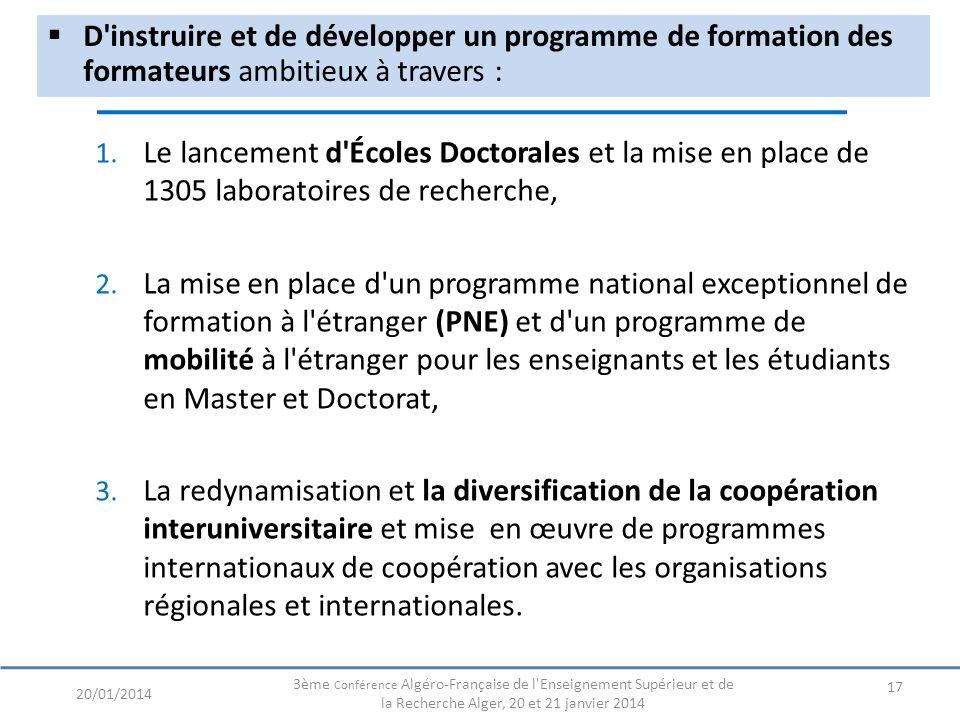 D instruire et de développer un programme de formation des formateurs ambitieux à travers : 17 20/01/2014 3ème Conférence Algéro-Française de l Enseignement Supérieur et de la Recherche Alger, 20 et 21 janvier 2014 1.