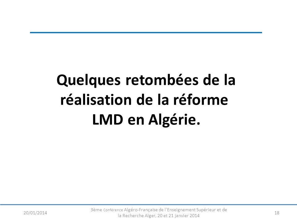 Quelques retombées de la réalisation de la réforme LMD en Algérie. 1820/01/2014 3ème Conférence Algéro-Française de l'Enseignement Supérieur et de la