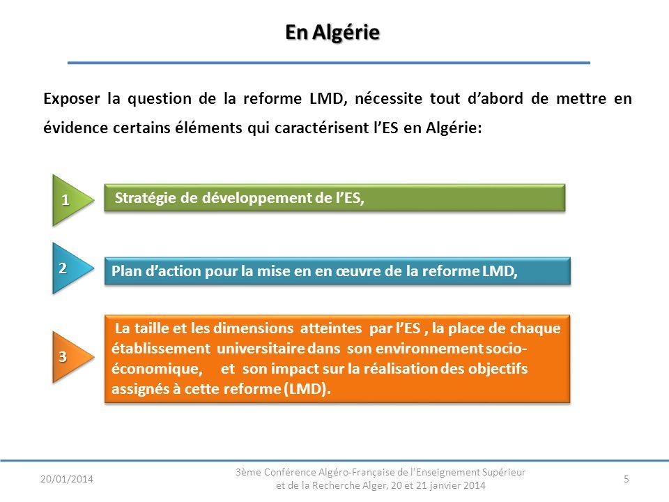 En Algérie Exposer la question de la reforme LMD, nécessite tout dabord de mettre en évidence certains éléments qui caractérisent lES en Algérie: 520/01/2014 3ème Conférence Algéro-Française de l Enseignement Supérieur et de la Recherche Alger, 20 et 21 janvier 2014 Stratégie de développement de lES, Plan daction pour la mise en en œuvre de la reforme LMD, La taille et les dimensions atteintes par lES, la place de chaque établissement universitaire dans son environnement socio- économique, et son impact sur la réalisation des objectifs assignés à cette reforme (LMD).