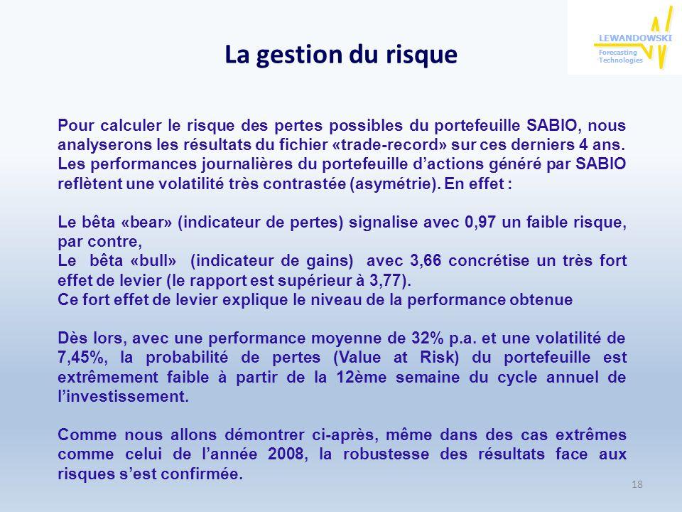 La gestion du risque Pour calculer le risque des pertes possibles du portefeuille SABIO, nous analyserons les résultats du fichier «trade-record» sur