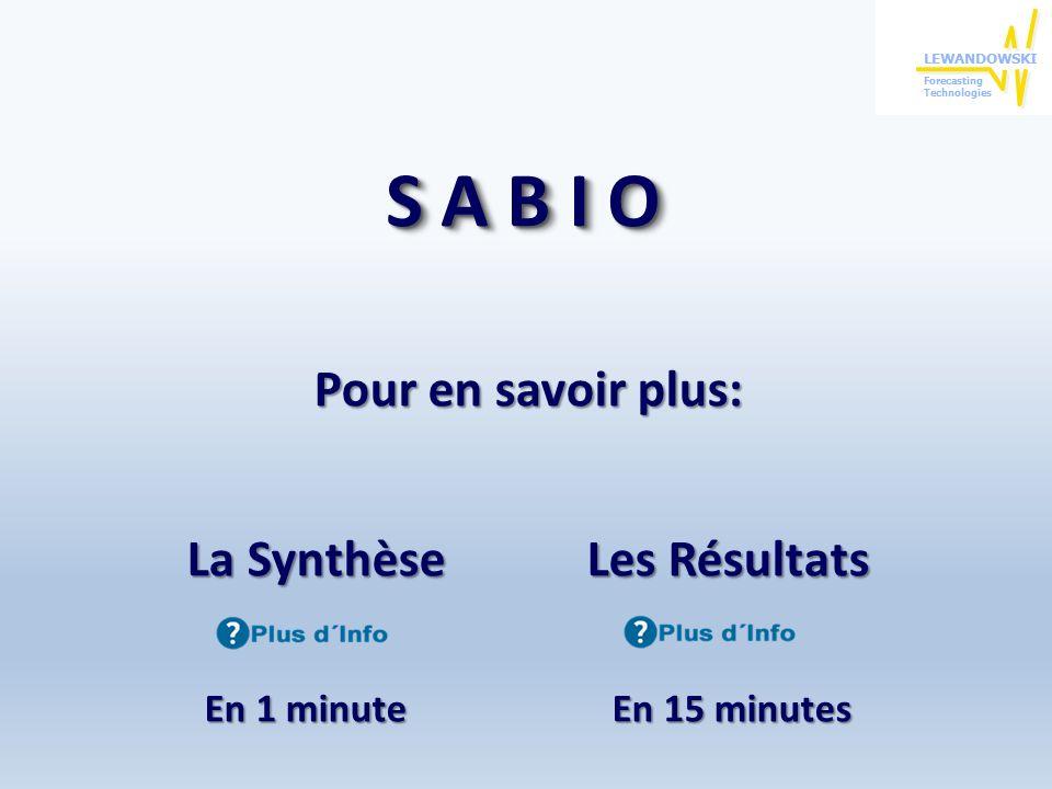 S A B I O Pour en savoir plus: La Synthèse Les Résultats En 1 minute En 15 minutes