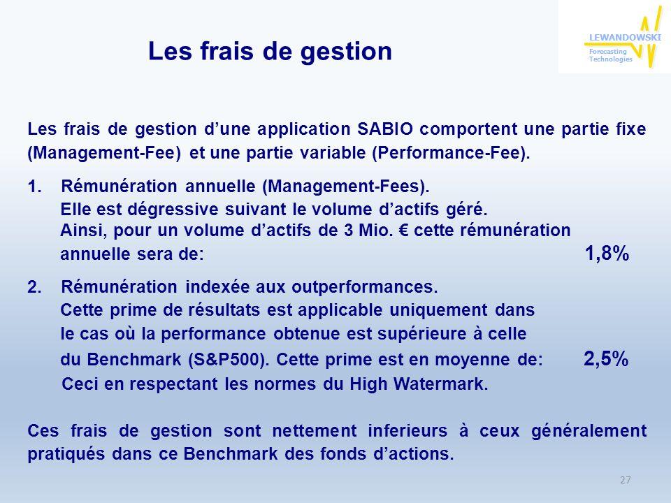 27 Les frais de gestion Les frais de gestion dune application SABIO comportent une partie fixe (Management-Fee) et une partie variable (Performance-Fee).
