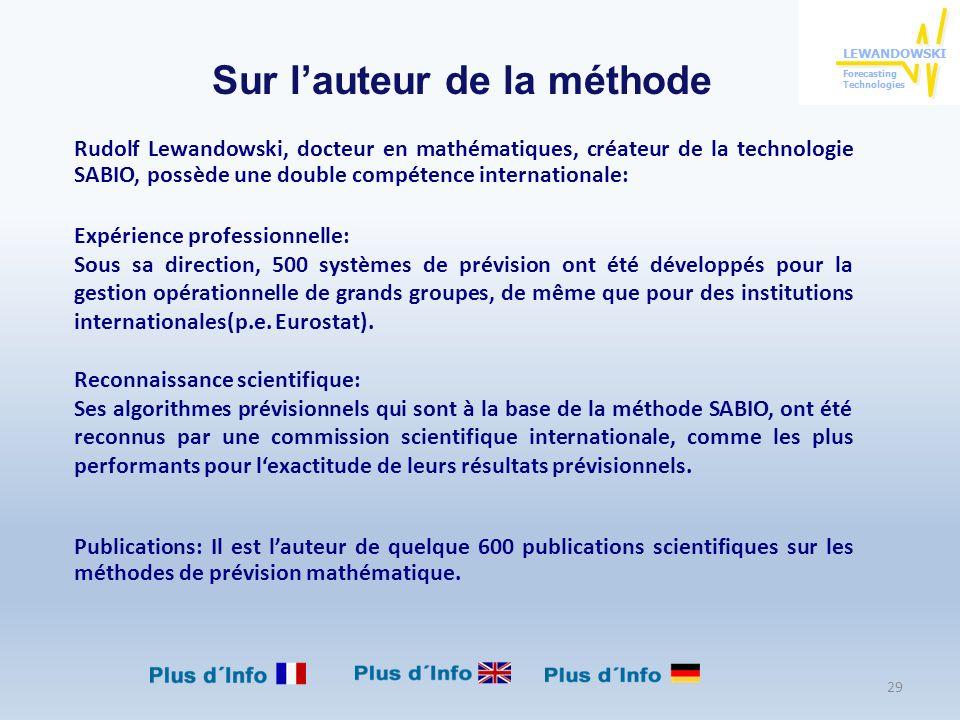 Rudolf Lewandowski, docteur en mathématiques, créateur de la technologie SABIO, possède une double compétence internationale: Expérience professionnel