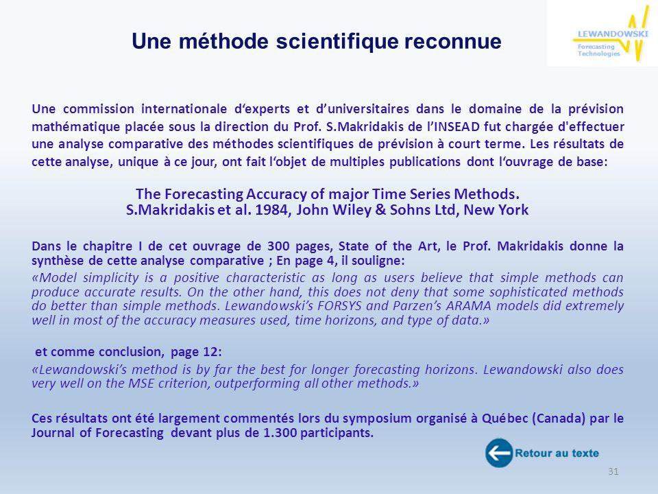 Une commission internationale dexperts et duniversitaires dans le domaine de la prévision mathématique placée sous la direction du Prof. S.Makridakis