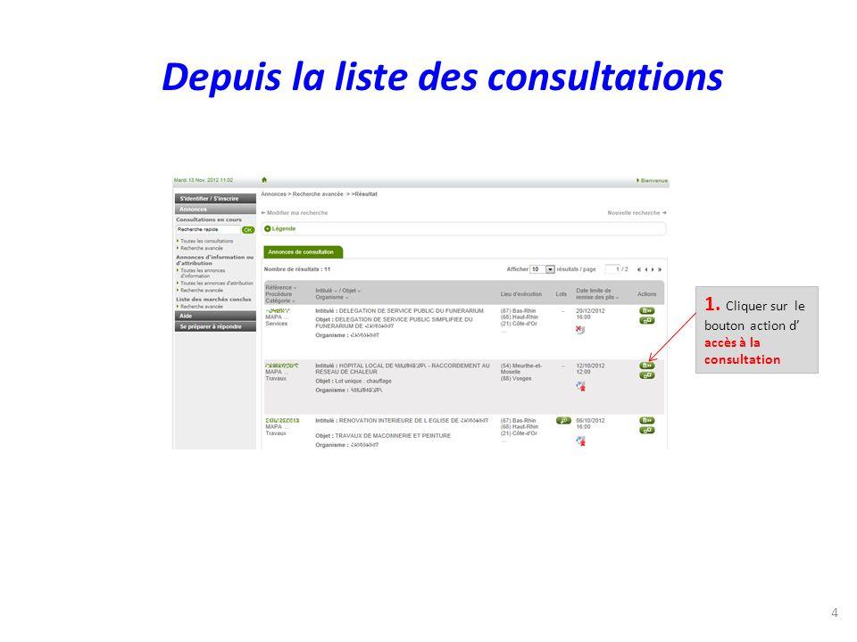 1. Cliquer sur le bouton action d accès à la consultation 4 Depuis la liste des consultations