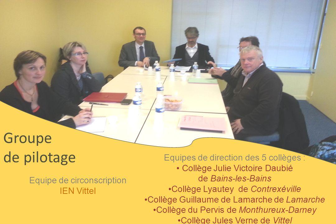 Groupe de pilotage Equipe de circonscription IEN Vittel Equipes de direction des 5 collèges : Collège Julie Victoire Daubié de Bains-les-Bains Collège