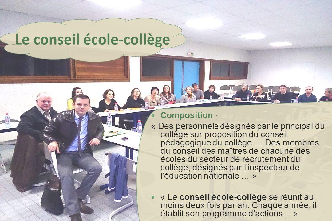 Composition : « Des personnels désignés par le principal du collège sur proposition du conseil pédagogique du collège … Des membres du conseil des maî