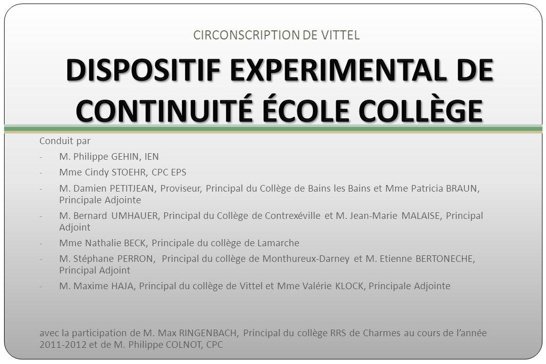 CIRCONSCRIPTION DE VITTEL Conduit par - M. Philippe GEHIN, IEN - Mme Cindy STOEHR, CPC EPS - M. Damien PETITJEAN, Proviseur, Principal du Collège de B