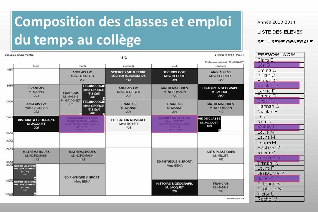 Composition des classes et emploi du temps au collège