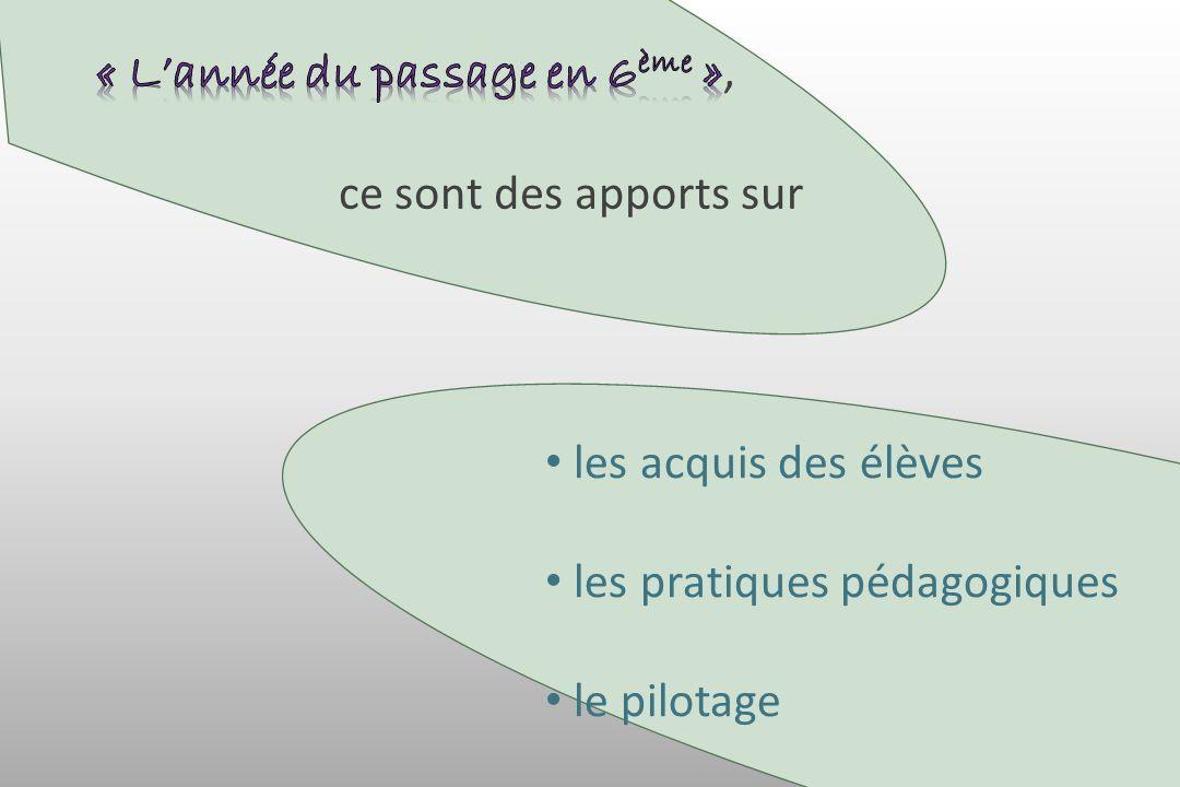 les acquis des élèves les pratiques pédagogiques le pilotage