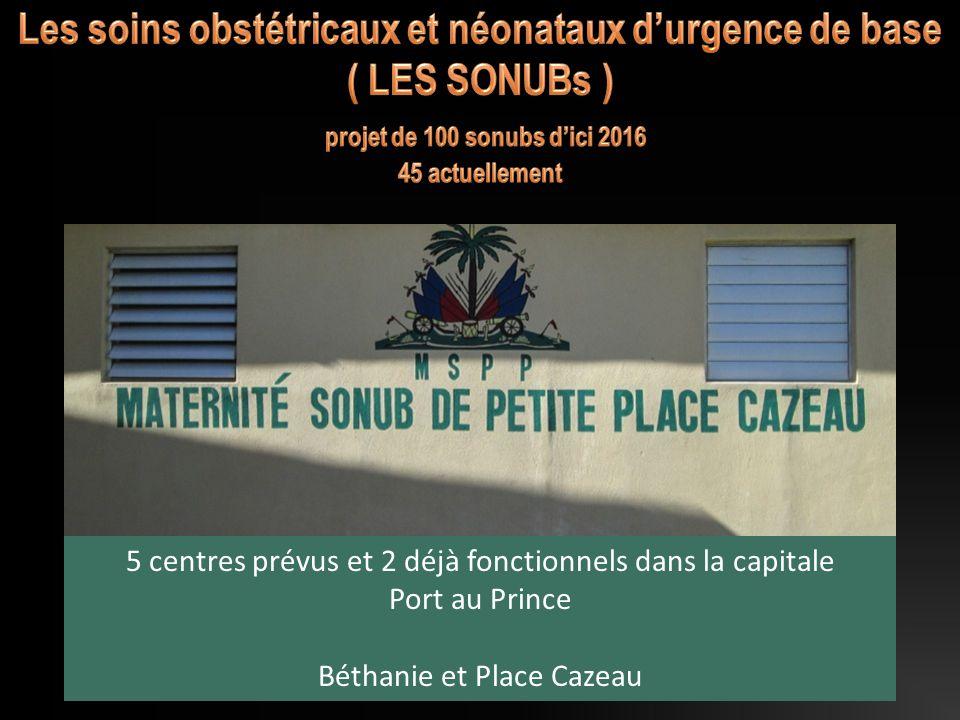 11 5 centres prévus et 2 déjà fonctionnels dans la capitale Port au Prince Béthanie et Place Cazeau
