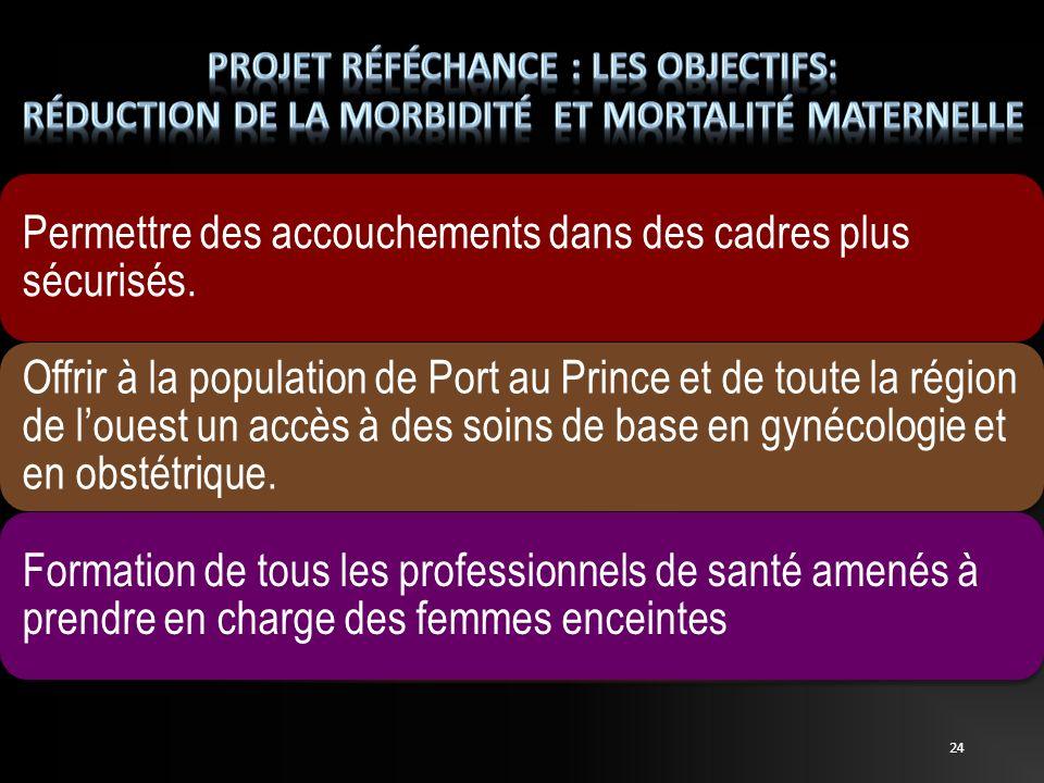 Permettre des accouchements dans des cadres plus sécurisés. Offrir à la population de Port au Prince et de toute la région de louest un accès à des so