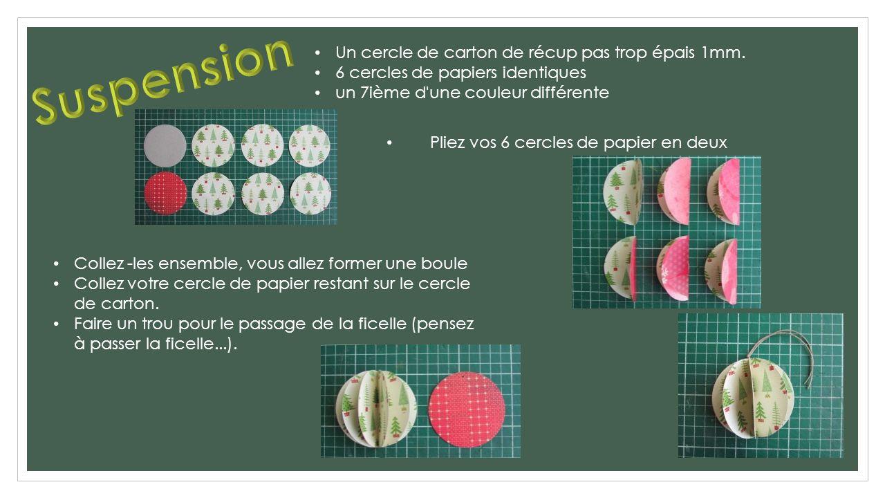 Un cercle de carton de récup pas trop épais 1mm. 6 cercles de papiers identiques un 7ième d'une couleur différente Pliez vos 6 cercles de papier en de