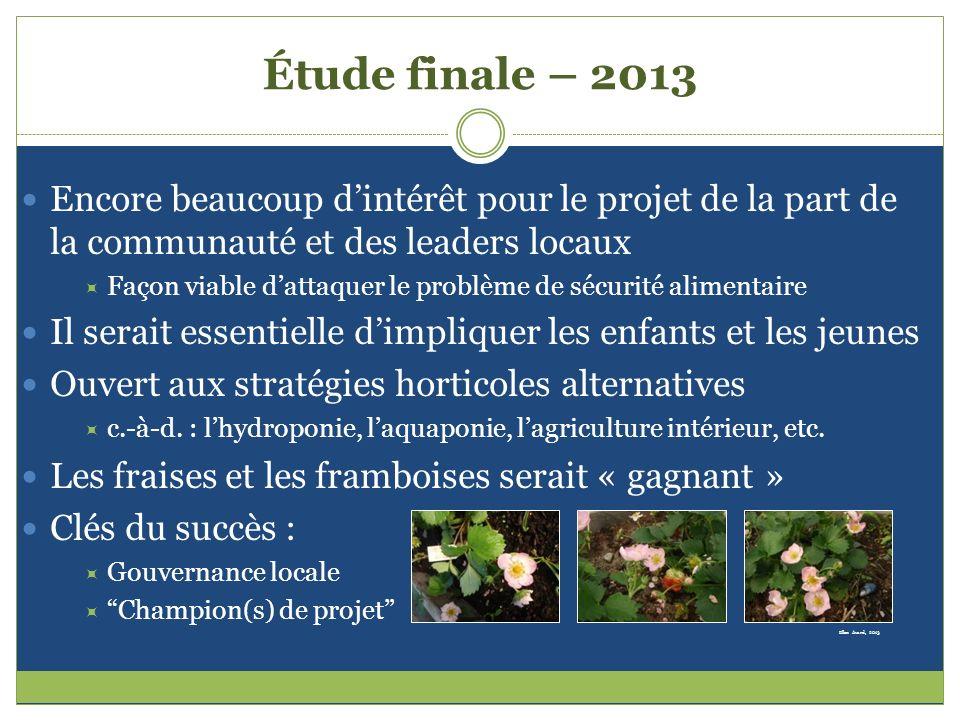 Étude finale – 2013 Encore beaucoup dintérêt pour le projet de la part de la communauté et des leaders locaux Façon viable dattaquer le problème de sé