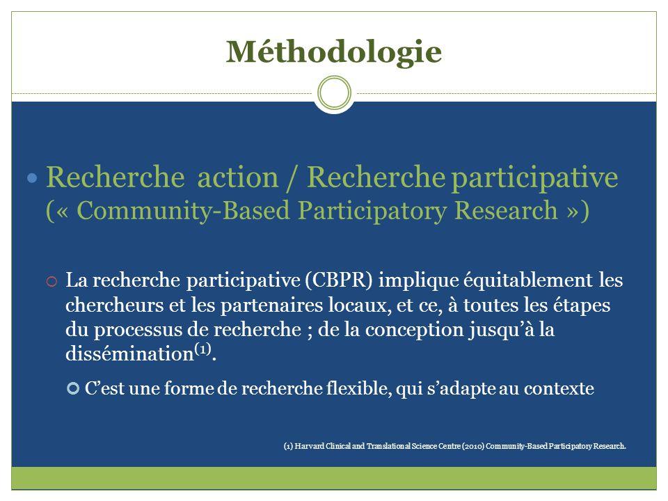 Méthodologie Recherche action / Recherche participative (« Community-Based Participatory Research ») La recherche participative (CBPR) implique équita
