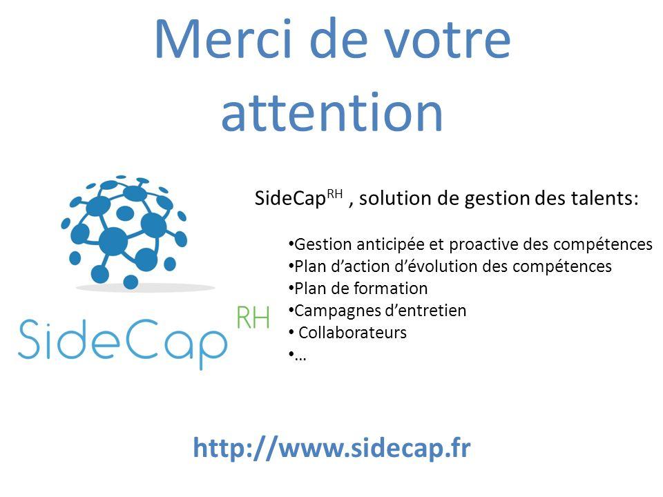 Merci de votre attention SideCap RH, solution de gestion des talents: Gestion anticipée et proactive des compétences Plan daction dévolution des compé