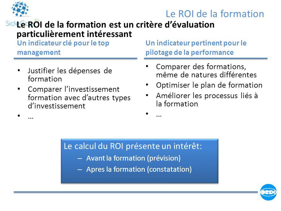 Le ROI de la formation Un indicateur clé pour le top management Un indicateur pertinent pour le pilotage de la performance Comparer des formations, mê