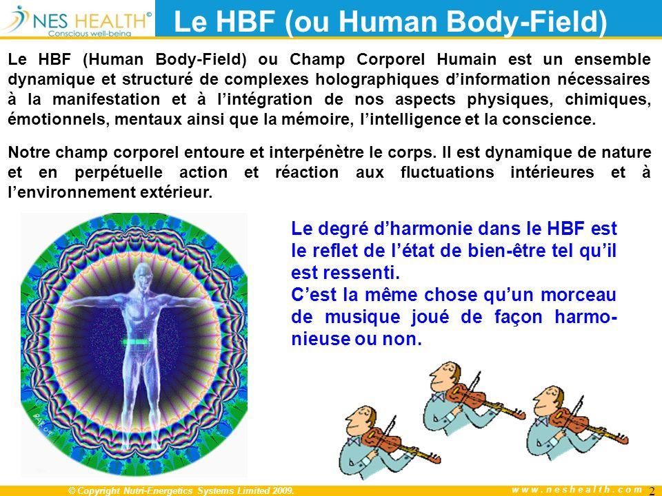 © Copyright Nutri-Energetics Systems Limited 2009. www.neshealth.com 2 Le HBF (Human Body-Field) ou Champ Corporel Humain est un ensemble dynamique et