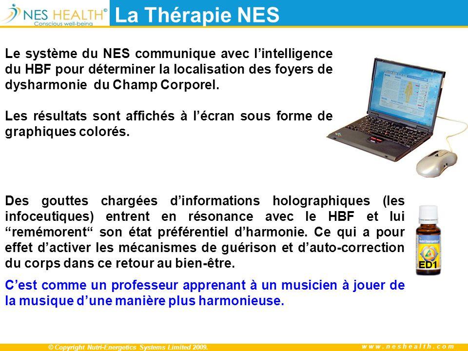 © Copyright Nutri-Energetics Systems Limited 2009. www.neshealth.com La Thérapie NES Des gouttes chargées dinformations holographiques (les infoceutiq