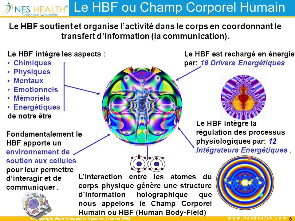 © Copyright Nutri-Energetics Systems Limited 2009. www.neshealth.com Le HBF ou Champ Corporel Humain Le HBF soutient et organise lactivité dans le cor