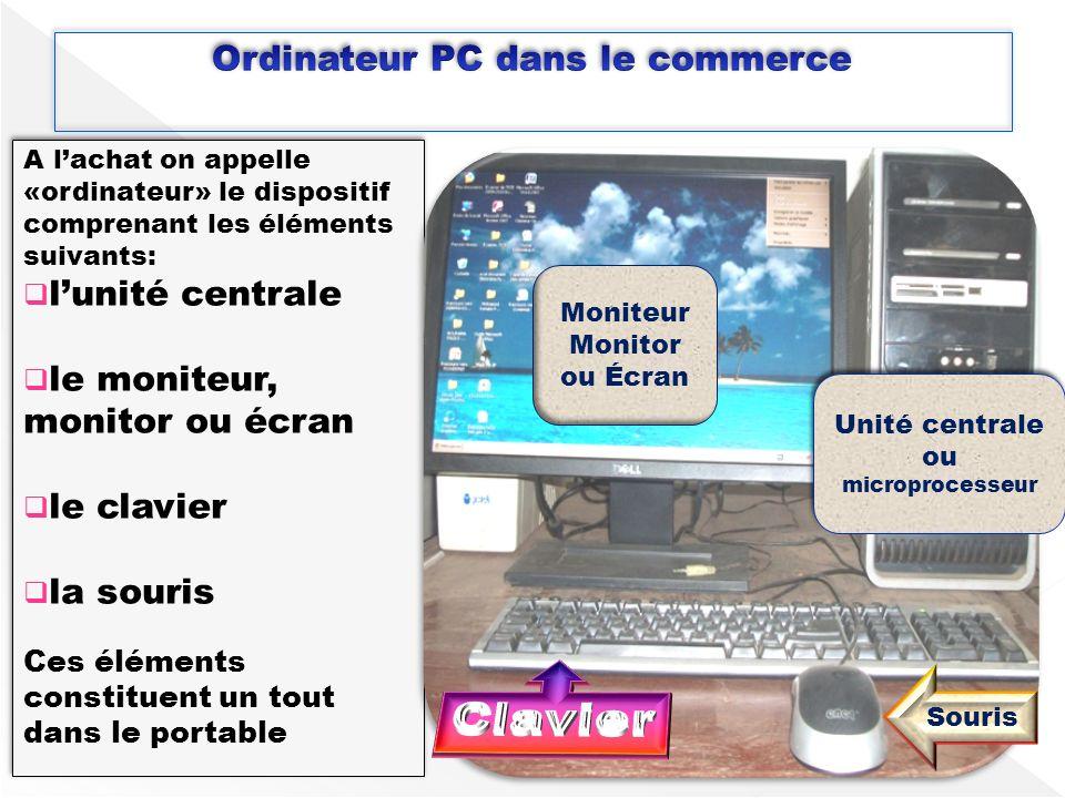 A lachat on appelle «ordinateur» le dispositif comprenant les éléments suivants: lunité centrale le moniteur, monitor ou écran le clavier la souris Ce