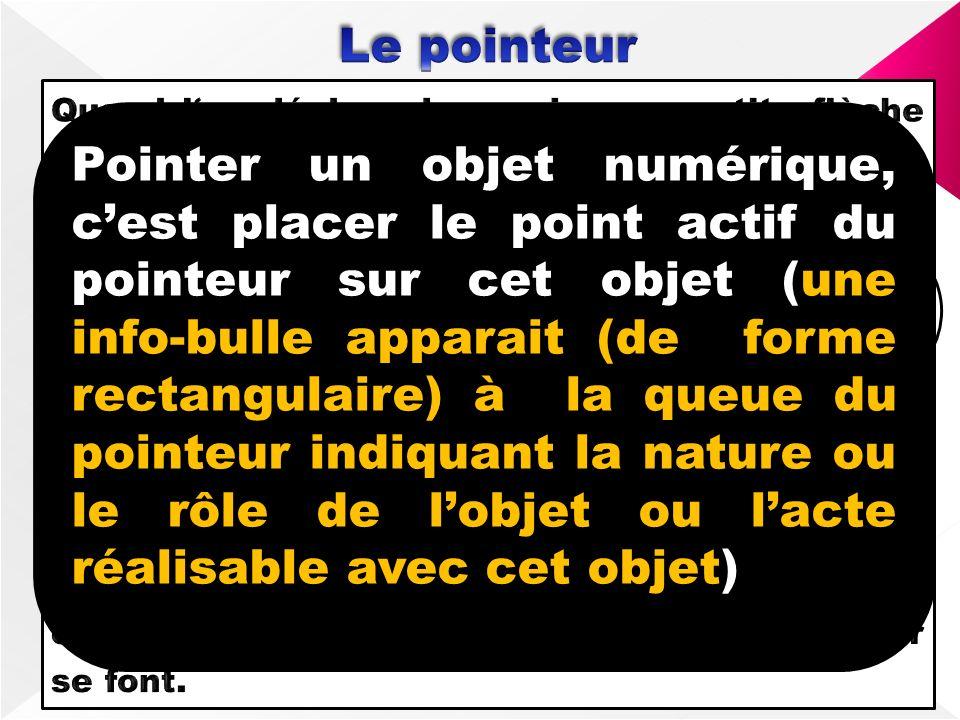 POINTEUR Point actif Pointer un objet numérique, cest placer le point actif du pointeur sur cet objet (une info-bulle apparait (de forme rectangulaire