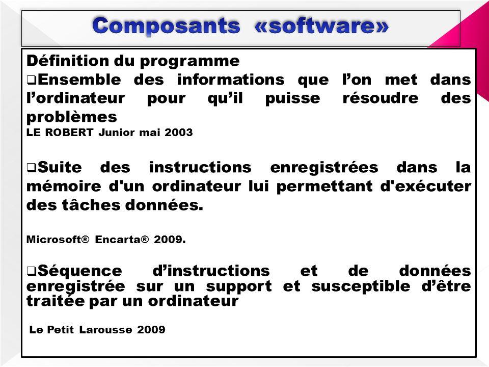 Définition du programme Ensemble des informations que lon met dans lordinateur pour quil puisse résoudre des problèmes LE ROBERT Junior mai 2003 Suite