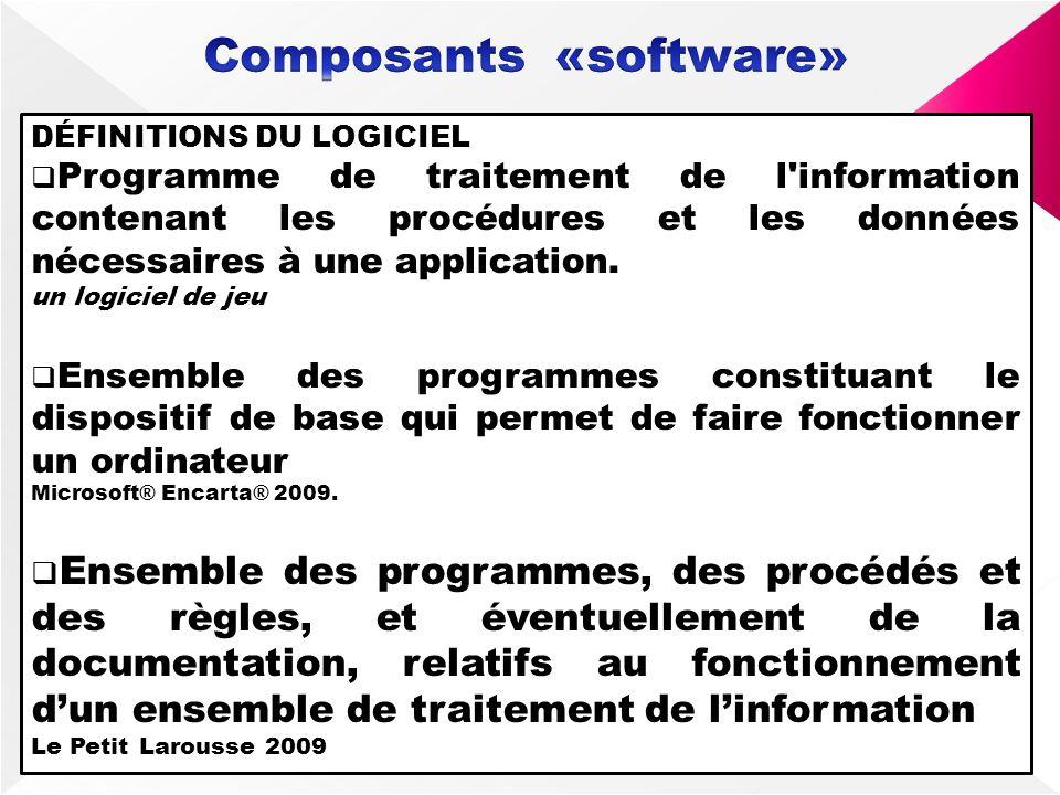 DÉFINITIONS DU LOGICIEL Programme de traitement de l'information contenant les procédures et les données nécessaires à une application. un logiciel de