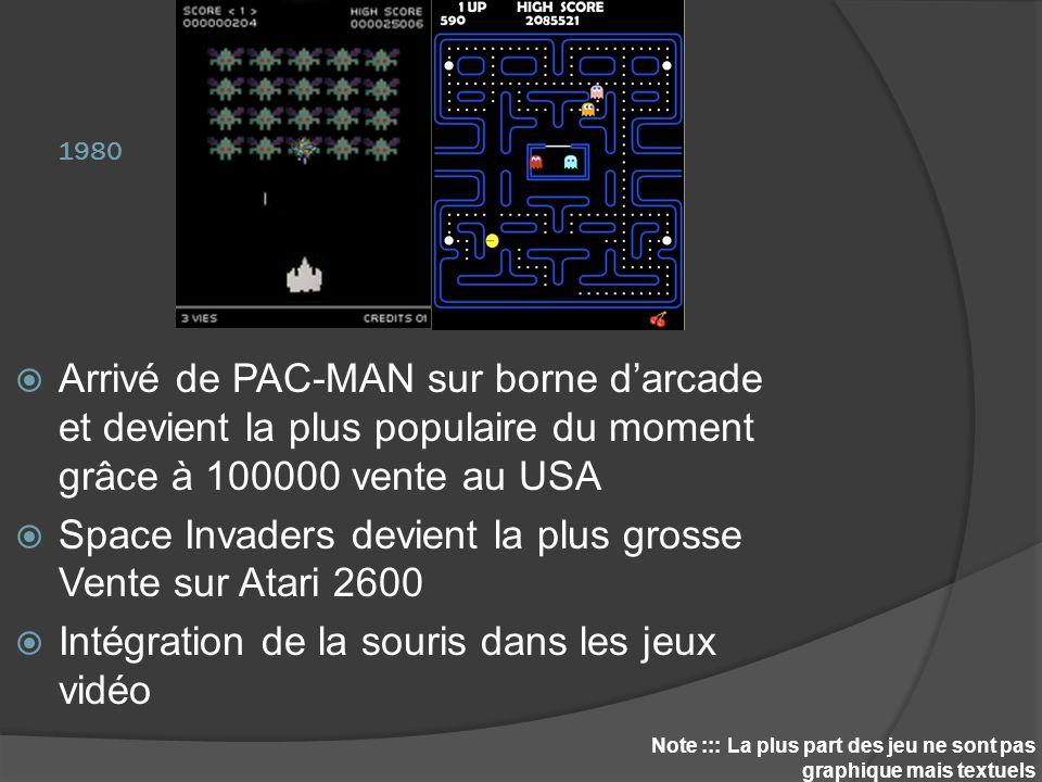 1980 Note ::: La plus part des jeu ne sont pas graphique mais textuels Arrivé de PAC-MAN sur borne darcade et devient la plus populaire du moment grâc