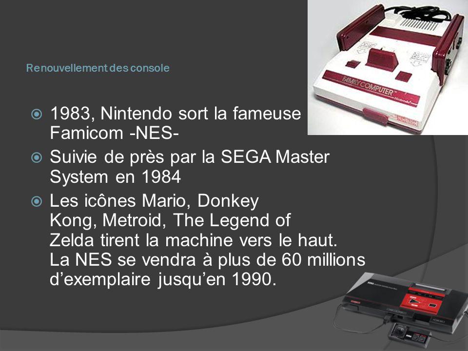 Renouvellement des console 1983, Nintendo sort la fameuse Famicom -NES- Suivie de près par la SEGA Master System en 1984 Les icônes Mario, Donkey Kong