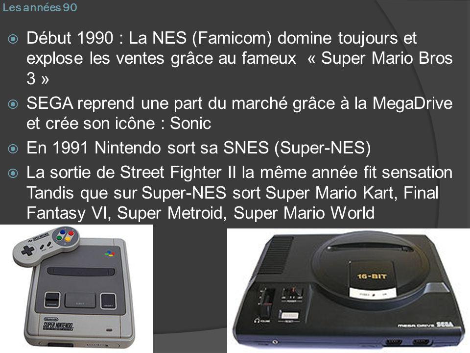 Les années 90 Début 1990 : La NES (Famicom) domine toujours et explose les ventes grâce au fameux « Super Mario Bros 3 » SEGA reprend une part du marc