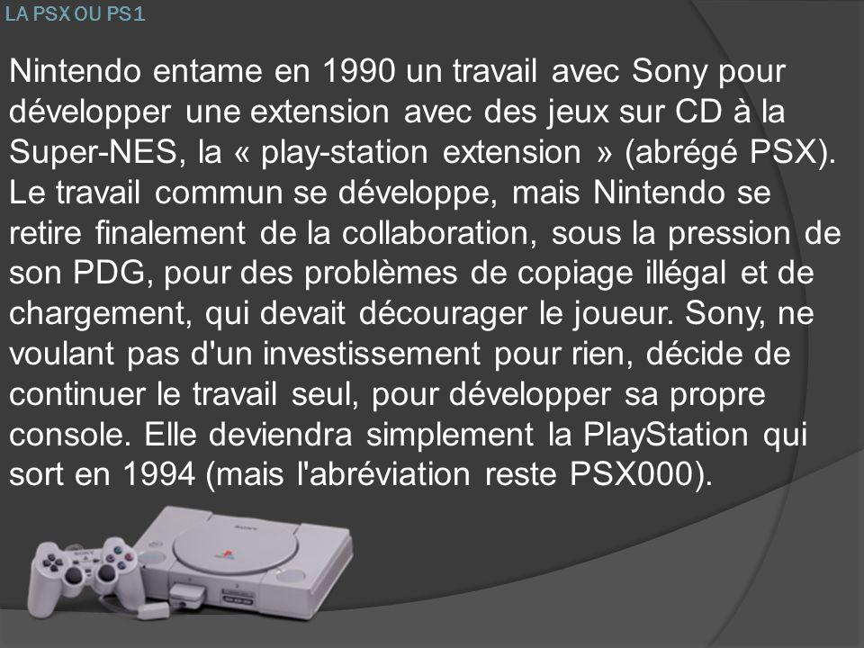 LA PSX OU PS1 Nintendo entame en 1990 un travail avec Sony pour développer une extension avec des jeux sur CD à la Super-NES, la « play-station extens