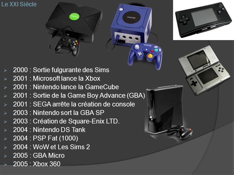 Le XXI Siècle 2000 : Sortie fulgurante des Sims 2001 : Microsoft lance la Xbox 2001 : Nintendo lance la GameCube 2001 : Sortie de la Game Boy Advance